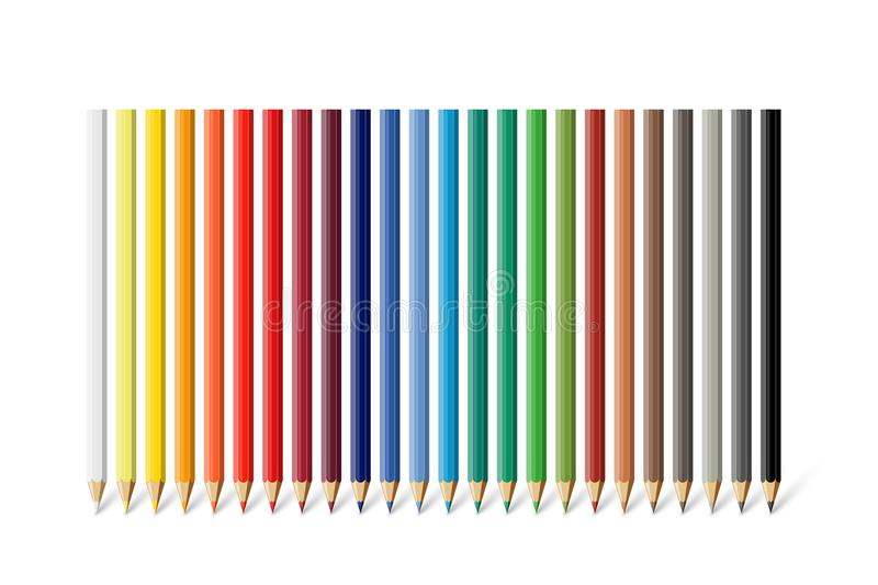 Color pencil set. Vector different color pencils isolated on white background. Color pencil set. Vector different color pencils isolated on white background royalty free illustration