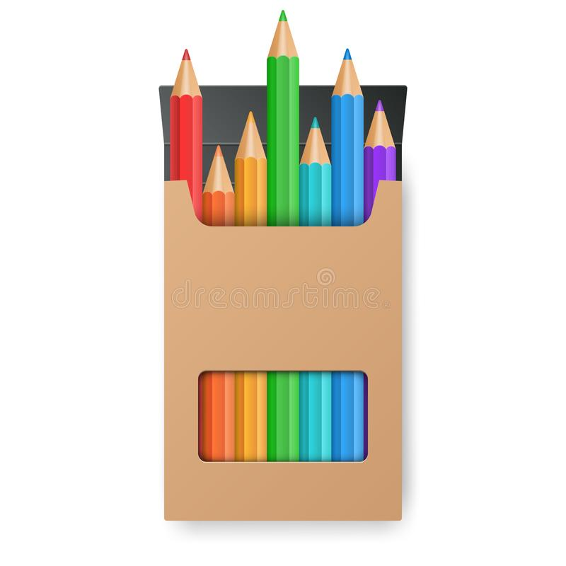 Color pencil set in the yellow box. Vector eps10 royalty free illustration