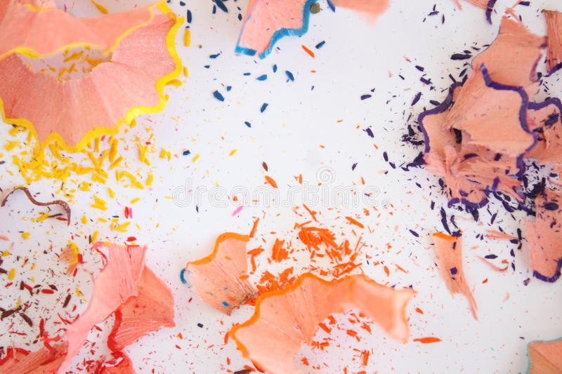 Color pencil shaves. On white background royalty free stock photo