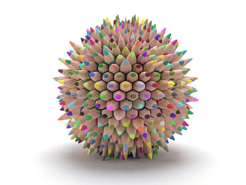 Color pencil sphere stock image