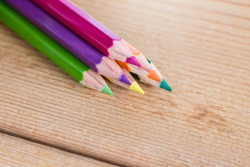 Color pencil on wood table stock photos