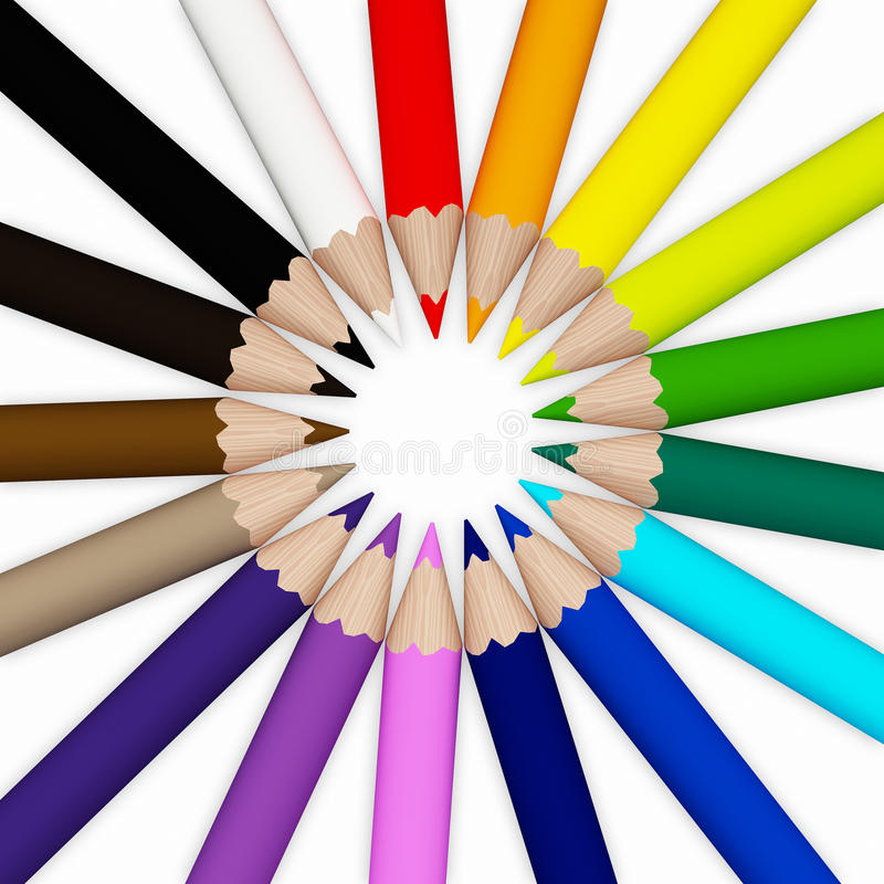 Free Color Penciles On The White Background Royalty Free Stock Photography - 19661597