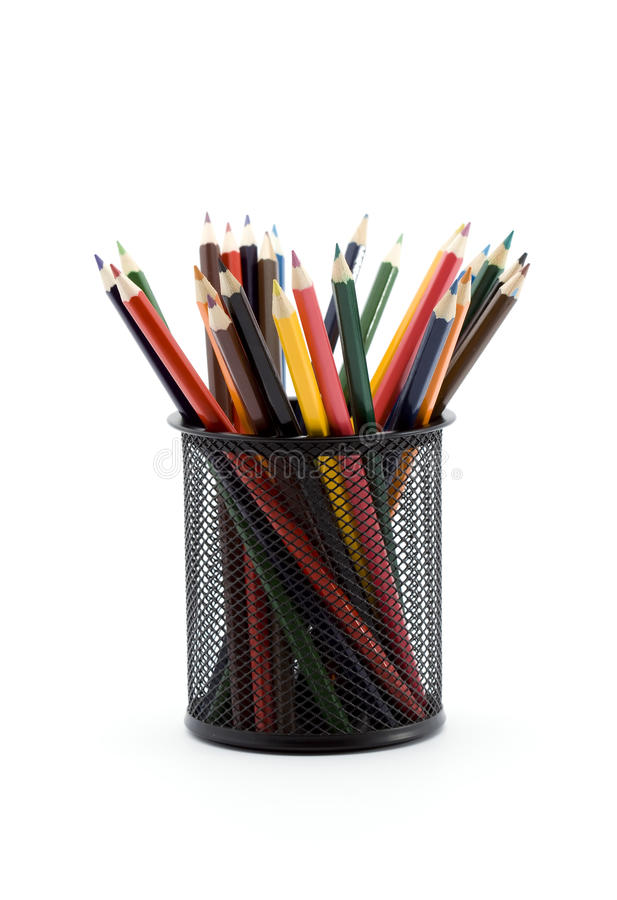 Color pencils. In a bin studio isolated stock photo