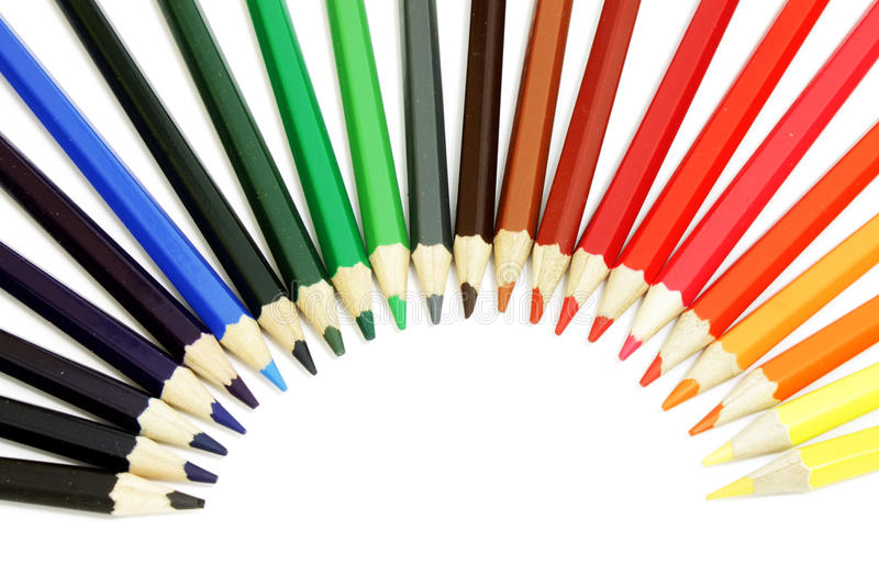 Color pencils. Many colored pencils on white background stock image