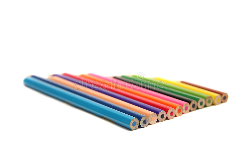 Color pencils. Set of color pencils on a white background royalty free stock image