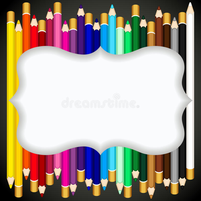 Color pencils background with blank banner royalty free illustration