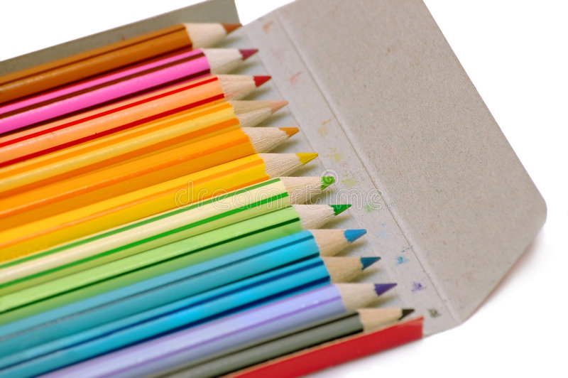 Download Color pencils in the case stock image. Image of crafts - 192387