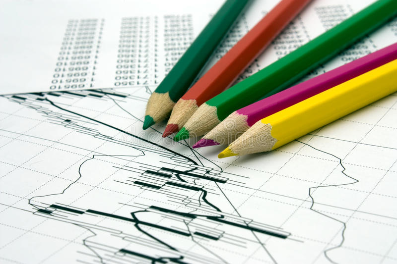 Color pencils and chart stock images