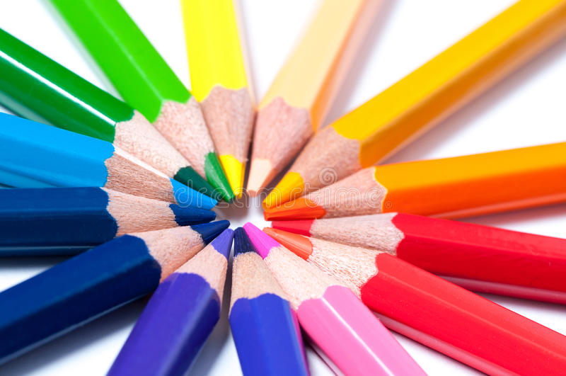 Color pencils. Close up. White background royalty free stock photo