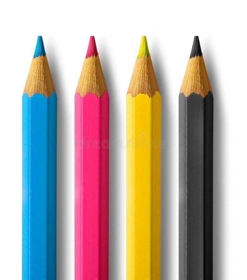 Color pencils cmyk. Four color process cyan magenta yellow black stock photography