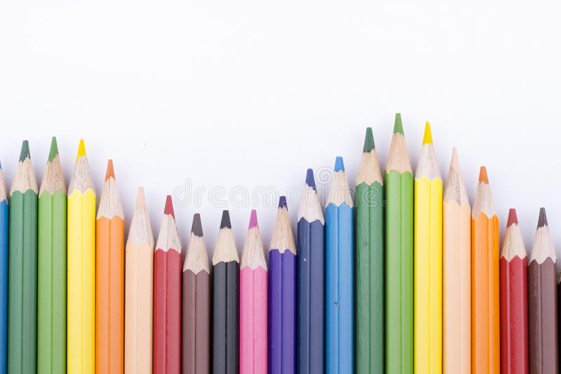Color pencils and drawing. Color pencils isolated on white background for wallpaper and education material back to school royalty free stock photography
