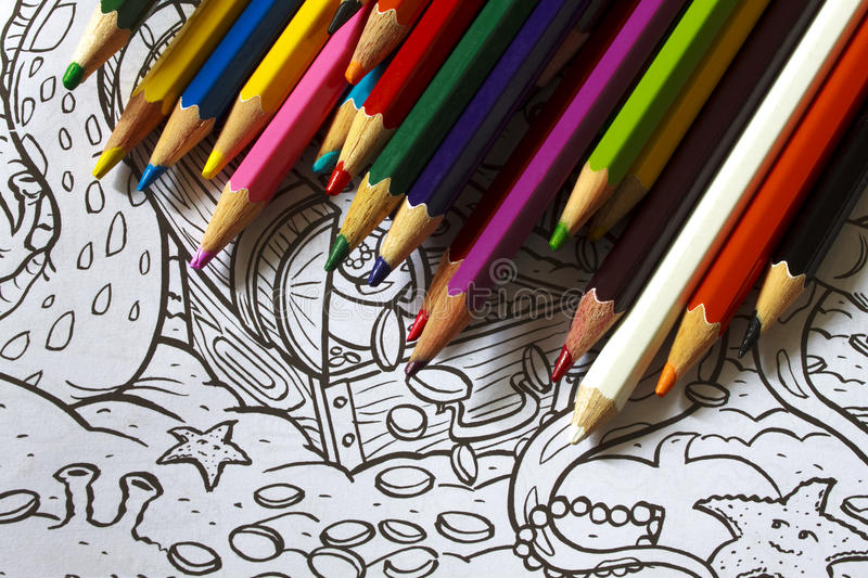 Color pencils drawings stock illustration