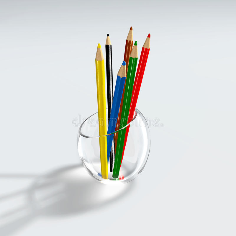 Color pencils in a glass holder royalty free stock photos