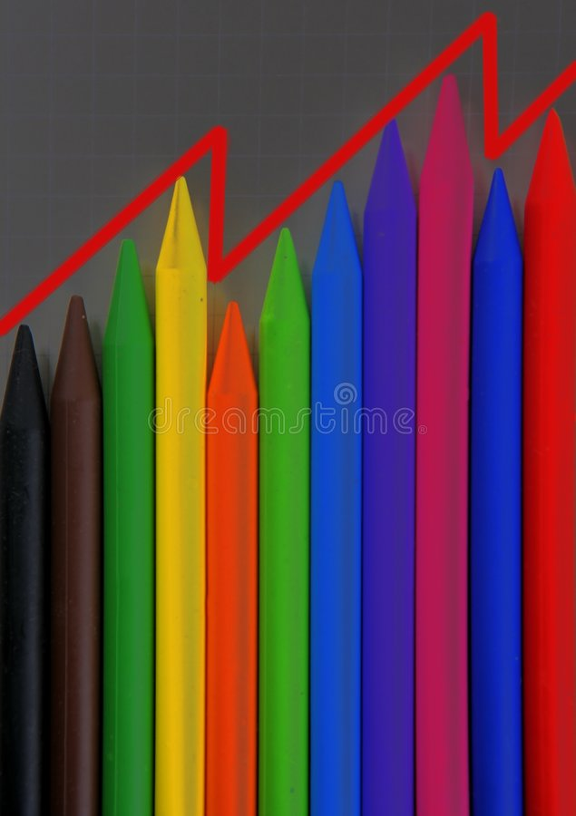 Download Color Pencils Graphic Chart, Earnings Report Stock Image - Image of concept, drawing: 7904423