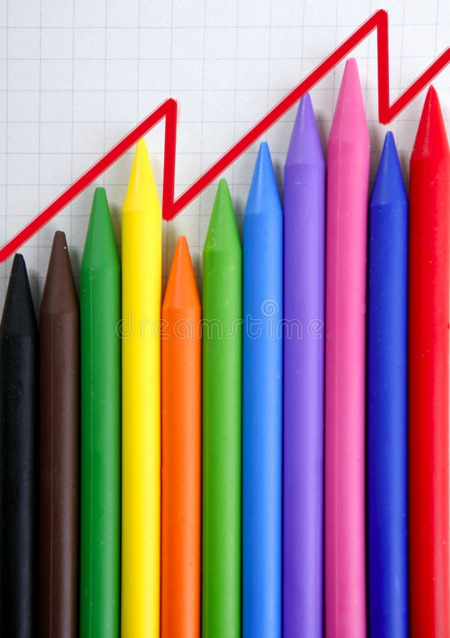 Download Color Pencils Graphic Chart, Earnings Report Stock Images - Image: 8984564