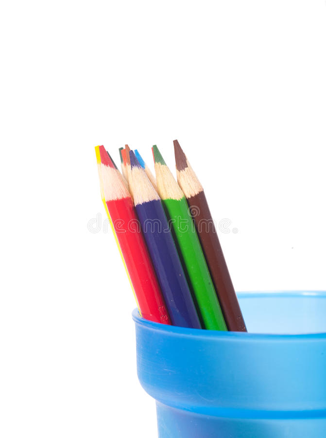 Color pencils grouped in a cup. stock photos