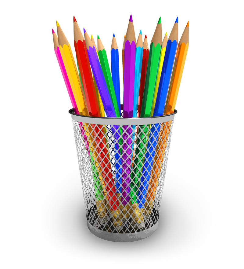 Color pencils in holder. Set of color pencils in holder isolated on white background royalty free illustration