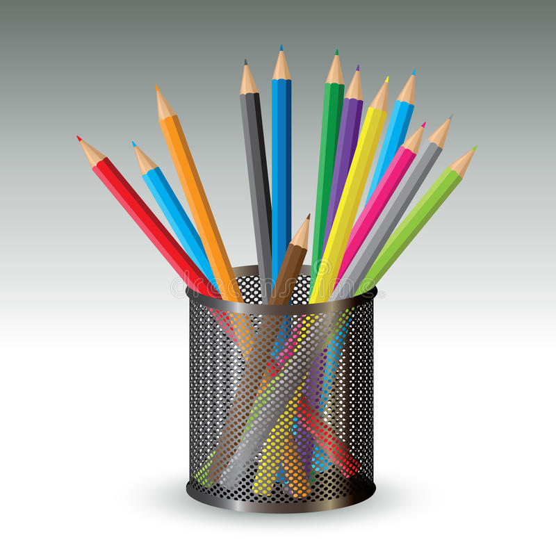 Color pencils in holder. Vector illustration royalty free illustration