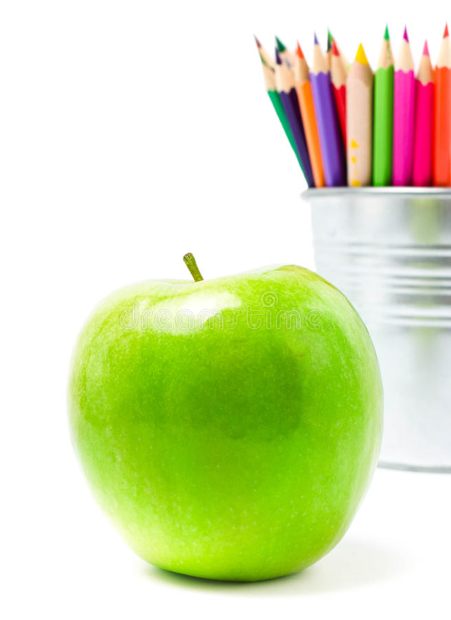 Free Color Pencils In Tin Can Or Pencil Holders And Green Apple, Bac Stock Image - 32072911