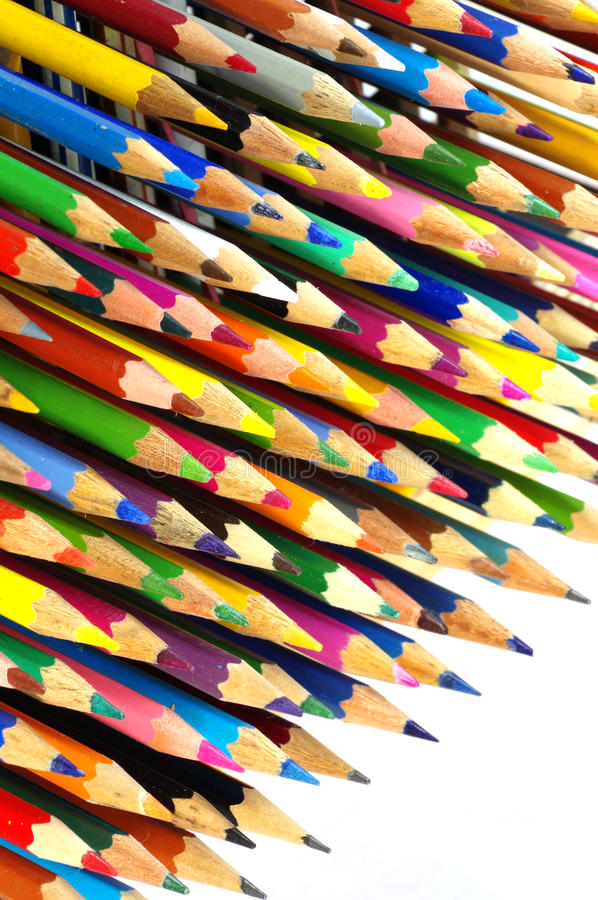 Color pencils isolated objects royalty free stock image
