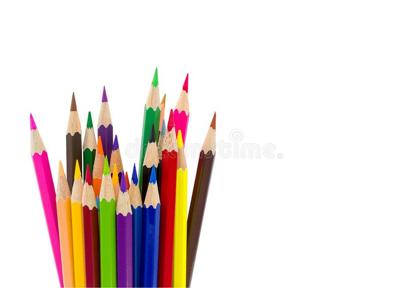 Color pencils isolated on white background with clipping path.Close up. Copy space royalty free stock images