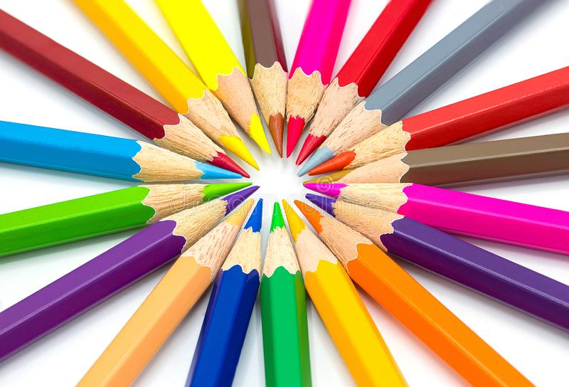 Color pencils isolated on white background.Close up. Background stock photography