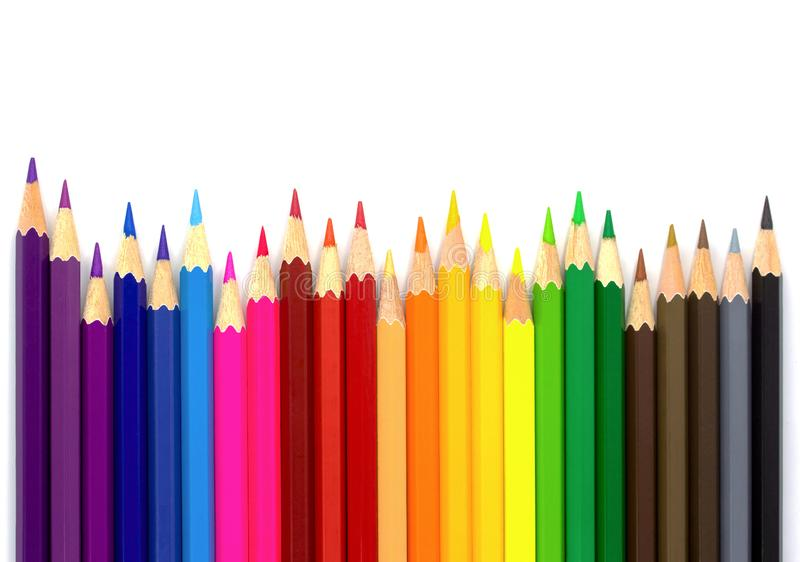 Color pencils isolated on white background.Close up. Top view royalty free stock photo