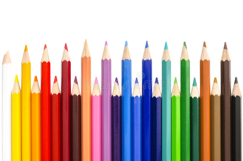 Color Pencils Over White Background Stock Photography