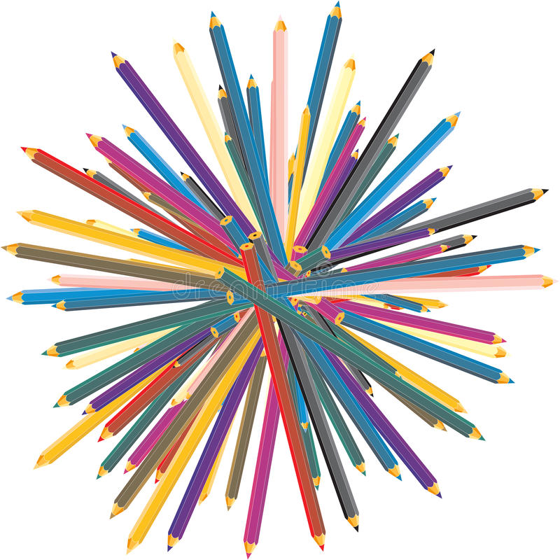 Color pencils stack. Color pencils over white background vector illustration