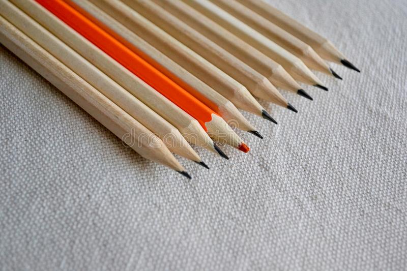 Color Pencils, Stand Out of The Crowd Concept stock image