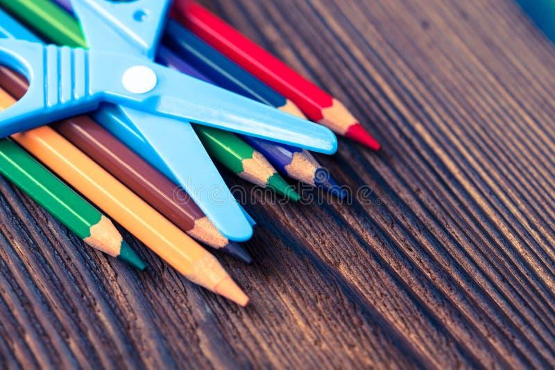 Color pencils. Styled concept photo. Colour pencils Styled concept photo royalty free stock images