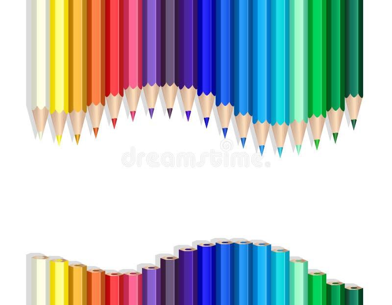 Color pencils wave royalty free illustration