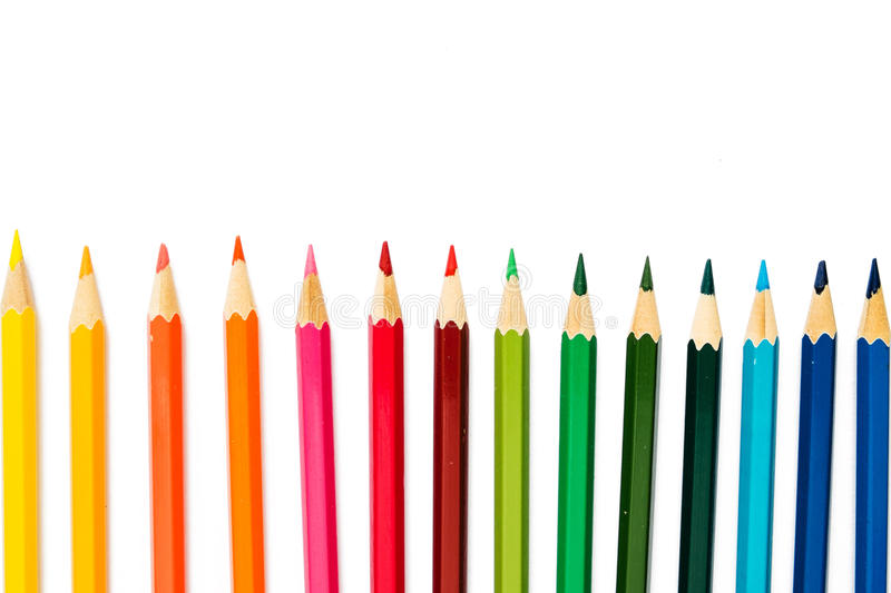 Color pencils on white background stock image