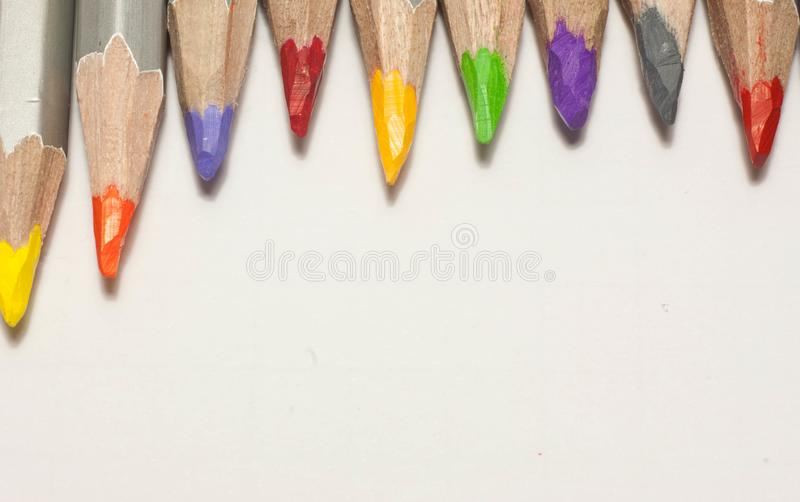 Color pencils on white background.Close up. royalty free stock photos