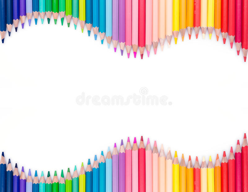 Color pencils on white background stock images