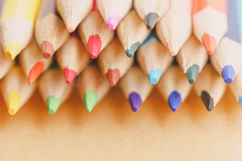 Color pencils on white background. stock photos