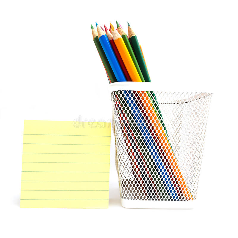 Color Pencils In The White Meshy Box Stock Photos