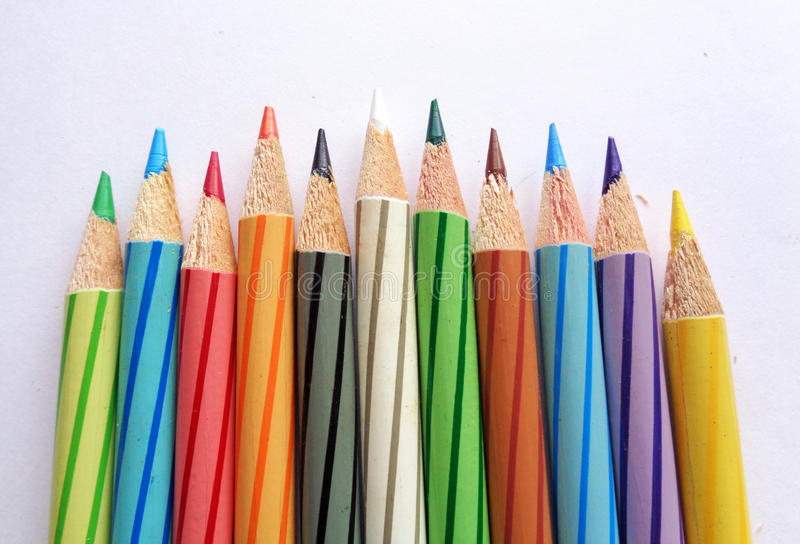 Color Pencils on White Paper stock images