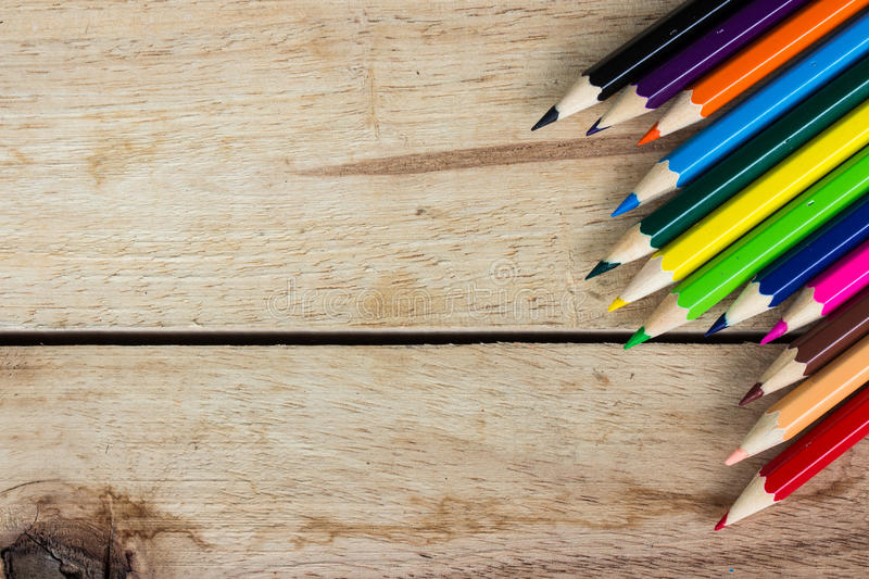 Color pencils on wood stock photography