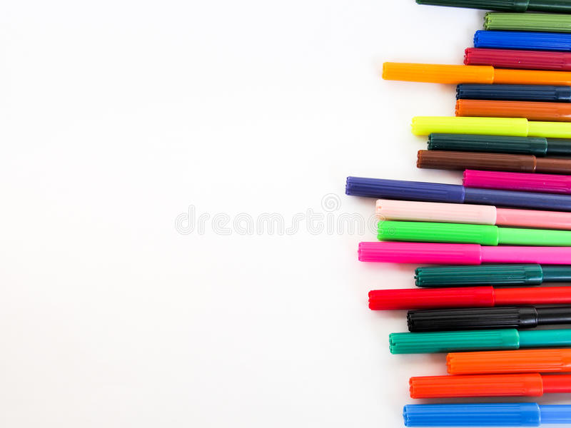 Color pens lined up stock photography