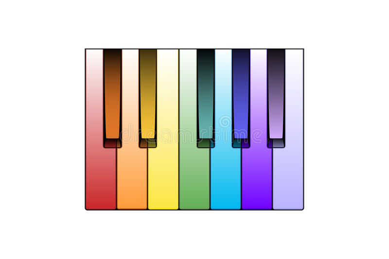 Color Piano Keys Stock Photo