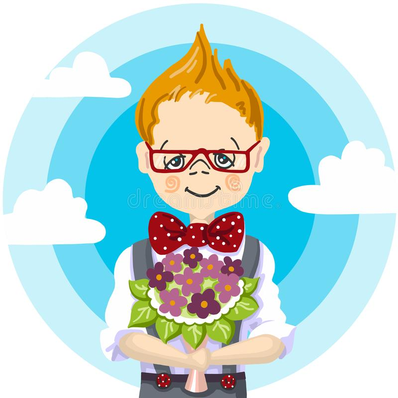 1st school day, september education, color hand paint draw of smile school boy red glasses who take a bouquet flowers to royalty free stock image