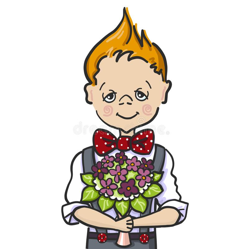 Color hand paint draw of a little smile boy with batterfly who wants to give a bouquet flowers to his teacher at school royalty free stock images