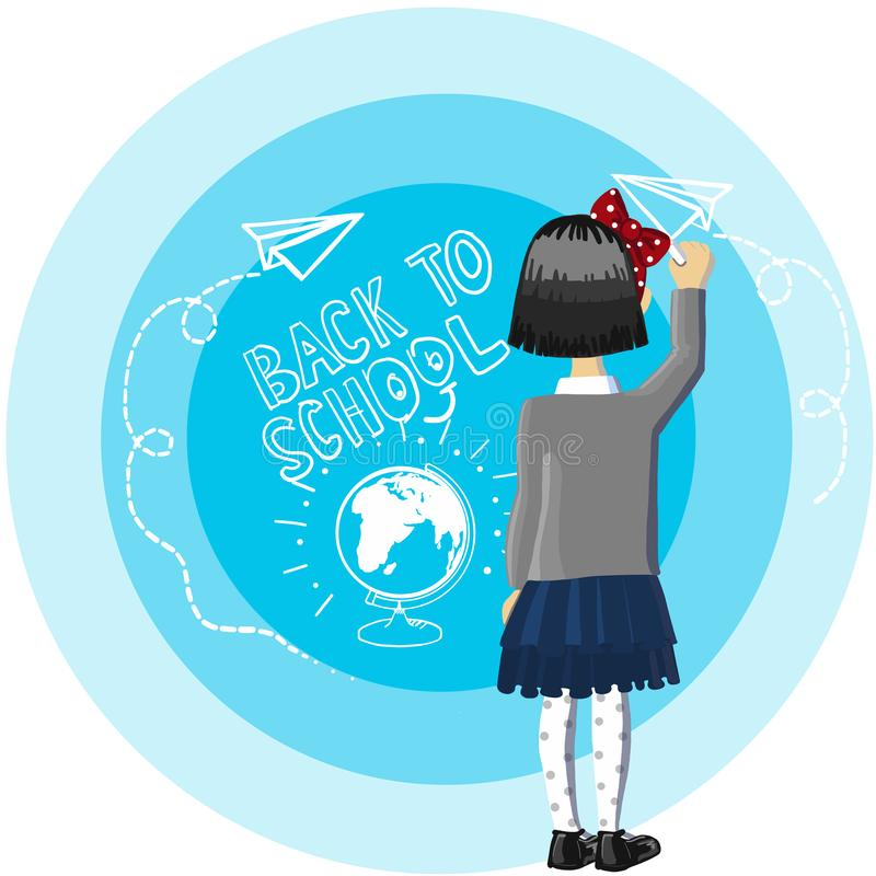 Little girl black hair stand near blue background, drowing and write white chalk, back to school, drawing paper airplane stock photos