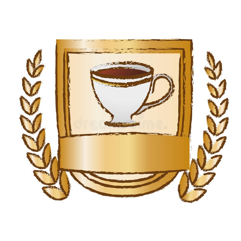 Color picture coffee cup with wheat. Image, illustration royalty free illustration