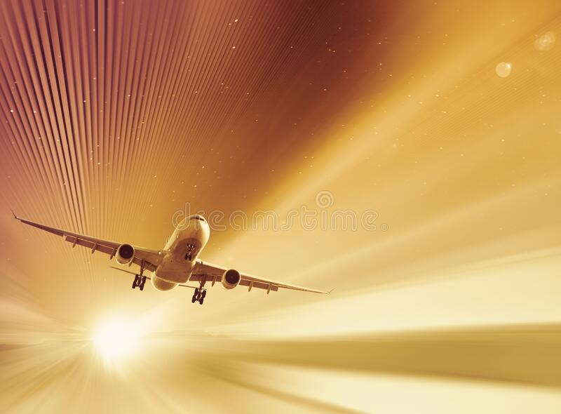 Color picture about flying airplane. Modern and color picture about flying airplane in the sky royalty free stock image