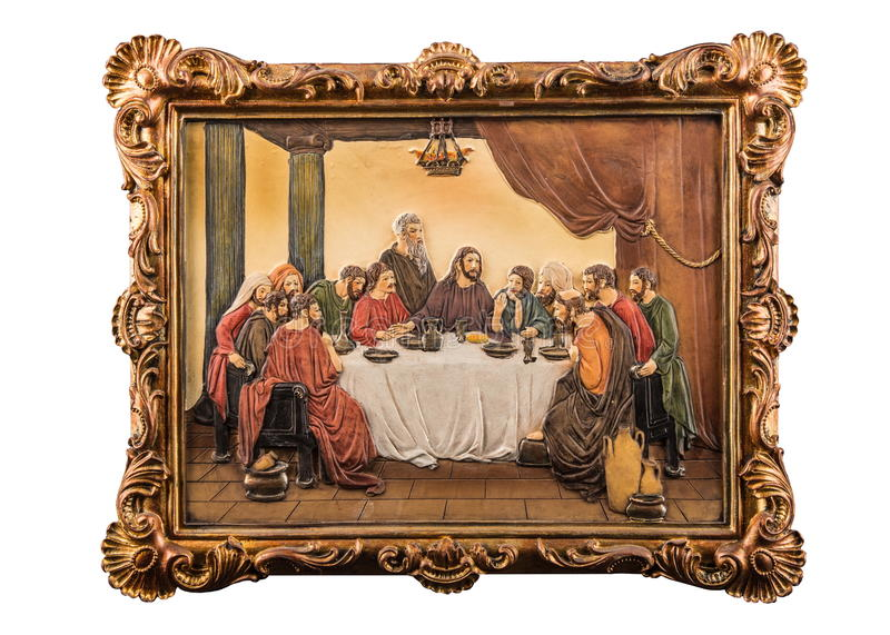 Color picture of the Last Supper. Over white background stock photography