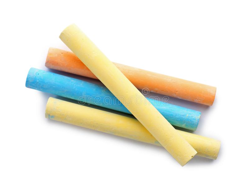 Color pieces of chalk stock photo