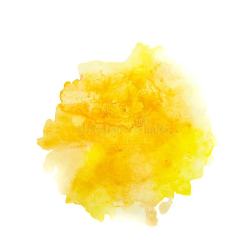 Color, pintado a mano amarillo-naranja de la acuarela del chapoteo aislado en el fondo blanco, decoración artística stock de ilustración