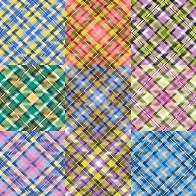 Color plaid patterns set vector illustration